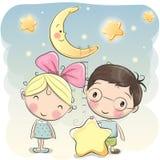 Κορίτσι και αγόρι με ένα αστέρι ελεύθερη απεικόνιση δικαιώματος