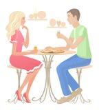 Κορίτσι και αγόρι σε έναν καφέ διανυσματική απεικόνιση