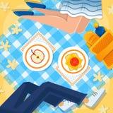 Κορίτσι και αγόρι στη διανυσματική απεικόνιση πικ-νίκ απεικόνιση αποθεμάτων