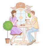 Κορίτσι και αγόρι στον καφέ απεικόνιση αποθεμάτων