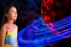 Κορίτσι και αλλοδαπός πλανήτης Στοκ εικόνες με δικαίωμα ελεύθερης χρήσης