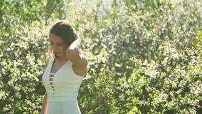 Κορίτσι και ανθίζοντας κεράσι Το κορίτσι στέκεται στο ανθίζοντας κεράσι κήπων φύσης Στοκ Εικόνες