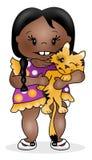 Κορίτσι και γατάκι Στοκ Φωτογραφίες