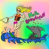 Κορίτσι και δελφίνια Στοκ Εικόνα