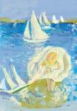 Κορίτσι και θάλασσα Στοκ εικόνα με δικαίωμα ελεύθερης χρήσης