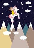 Κορίτσι και μονόκερος διανυσματική απεικόνιση