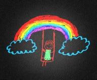 Κορίτσι και ουράνιο τόξο Στοκ εικόνες με δικαίωμα ελεύθερης χρήσης