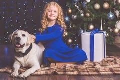 Κορίτσι και σκυλί του Λαμπραντόρ, έννοια Χριστουγέννων Στοκ Εικόνες
