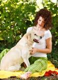 Κορίτσι και σκυλί Στοκ Εικόνα