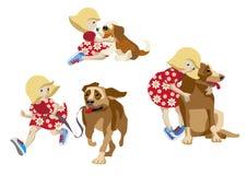 Κορίτσι και σκυλί Απεικόνιση αποθεμάτων