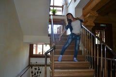 Κορίτσι και στάδιο Στοκ Φωτογραφίες