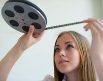Κορίτσι και ταινία Στοκ Εικόνες