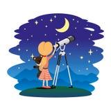 Κορίτσι και τηλεσκόπιο Ελεύθερη απεικόνιση δικαιώματος