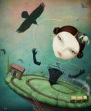 Κορίτσι και τραίνο απεικόνιση αποθεμάτων