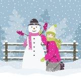 Κορίτσι και χιονάνθρωπος Στοκ φωτογραφίες με δικαίωμα ελεύθερης χρήσης