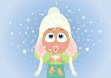 Κορίτσι και χιόνι Στοκ εικόνα με δικαίωμα ελεύθερης χρήσης