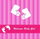 κορίτσι καρτών μωρών άφιξης ανακοίνωσης Στοκ φωτογραφία με δικαίωμα ελεύθερης χρήσης