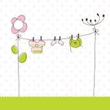 κορίτσι καρτών μωρών άφιξης α Στοκ Εικόνες
