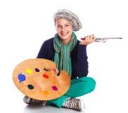 Κορίτσι καλλιτεχνών στην εργασία Στοκ φωτογραφίες με δικαίωμα ελεύθερης χρήσης