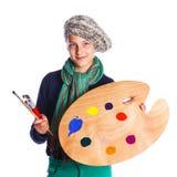 Κορίτσι καλλιτεχνών στην εργασία Στοκ φωτογραφία με δικαίωμα ελεύθερης χρήσης