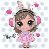Κορίτσι κινούμενων σχεδίων σε ένα ρόδινο φόρεμα και τα ακουστικά ελεύθερη απεικόνιση δικαιώματος