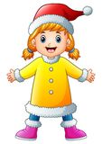 Κορίτσι κινούμενων σχεδίων στον κίτρινο κυματισμό χειμερινών ενδυμάτων διανυσματική απεικόνιση