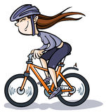 Κορίτσι κινούμενων σχεδίων στο ποδήλατο. Στοκ Εικόνες