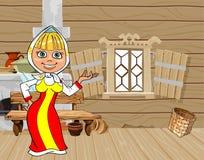 Κορίτσι κινούμενων σχεδίων στο ρωσικό εθνικό φόρεμα σε ένα ξύλινο σπίτι Στοκ Φωτογραφία