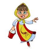 Κορίτσι κινούμενων σχεδίων sundress και headscarf, τρέχοντας με έναν κάδο Στοκ Εικόνες