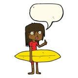 κορίτσι κινούμενων σχεδίων surfer με τη λεκτική φυσαλίδα Στοκ Φωτογραφίες