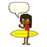κορίτσι κινούμενων σχεδίων surfer με τη λεκτική φυσαλίδα Στοκ Εικόνα