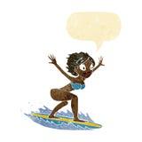 κορίτσι κινούμενων σχεδίων surfer με τη λεκτική φυσαλίδα Στοκ φωτογραφίες με δικαίωμα ελεύθερης χρήσης