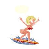 κορίτσι κινούμενων σχεδίων surfer με τη λεκτική φυσαλίδα Στοκ Φωτογραφία