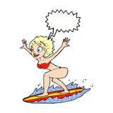 κορίτσι κινούμενων σχεδίων surfer με τη λεκτική φυσαλίδα Στοκ φωτογραφία με δικαίωμα ελεύθερης χρήσης