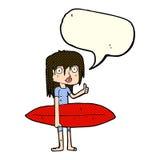 κορίτσι κινούμενων σχεδίων surfer με τη λεκτική φυσαλίδα Στοκ εικόνα με δικαίωμα ελεύθερης χρήσης