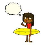 κορίτσι κινούμενων σχεδίων surfer με τη σκεπτόμενη φυσαλίδα Στοκ φωτογραφία με δικαίωμα ελεύθερης χρήσης