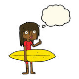 κορίτσι κινούμενων σχεδίων surfer με τη σκεπτόμενη φυσαλίδα Στοκ Εικόνες