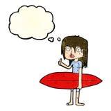 κορίτσι κινούμενων σχεδίων surfer με τη σκεπτόμενη φυσαλίδα Στοκ Εικόνα