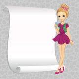 Κορίτσι κουτσομπολιού μόδας με το έμβλημα απεικόνιση αποθεμάτων