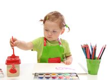 κορίτσι λίγη ζωγραφική Στοκ φωτογραφία με δικαίωμα ελεύθερης χρήσης