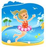 κορίτσι λίγη κολύμβηση απεικόνιση αποθεμάτων