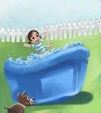 κορίτσι λίγη λίμνη διανυσματική απεικόνιση