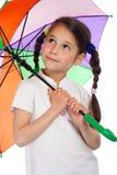 κορίτσι λίγη ομπρέλα κοιτά Στοκ εικόνες με δικαίωμα ελεύθερης χρήσης