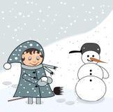 κορίτσι λίγος χιονάνθρωπ&om Στοκ Φωτογραφία
