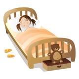 κορίτσι λίγος ύπνος διανυσματική απεικόνιση