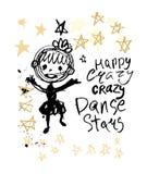 Κορίτσι λεκέδων μελανιού απεικόνισης χιούμορ που πηδά στα αστέρια doodle ελεύθερη απεικόνιση δικαιώματος