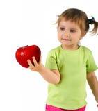 κορίτσι μήλων λίγα κόκκινα Στοκ Εικόνα