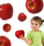 κορίτσι μήλων λίγα ώριμα Στοκ Εικόνα