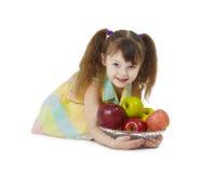 κορίτσι μήλων λίγα Στοκ Εικόνα