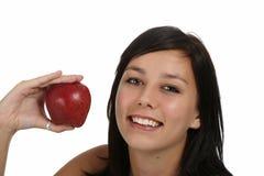 κορίτσι μήλων πανέμορφο Στοκ Εικόνες